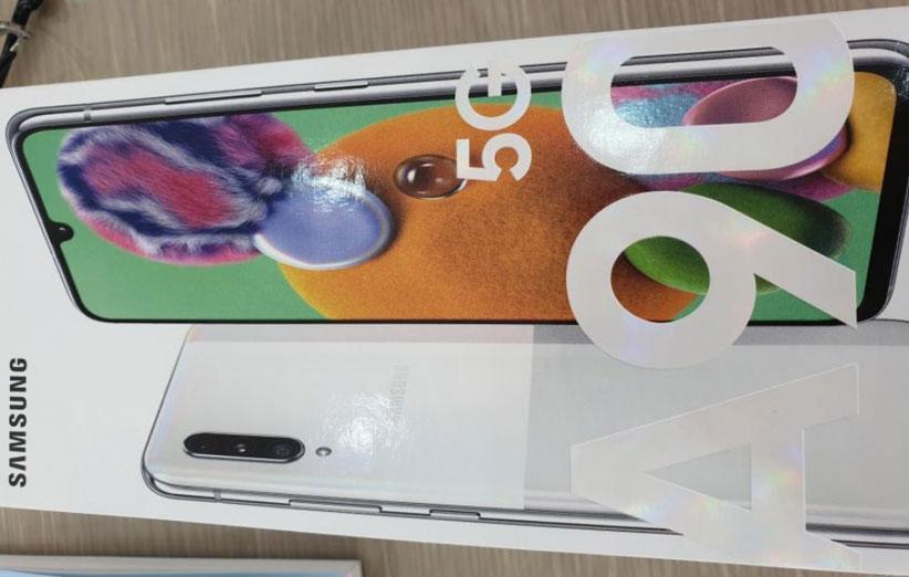 تیزر فاش شده از گلکسی A90 5G به وضوح مشخصات گوشی و جعبه آن را نمایش می دهد