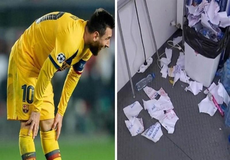 وضعیت تأسف بار رختکن تیم فوتبال بارسلونا پس از بازی مقابل اسلاویا پراگ